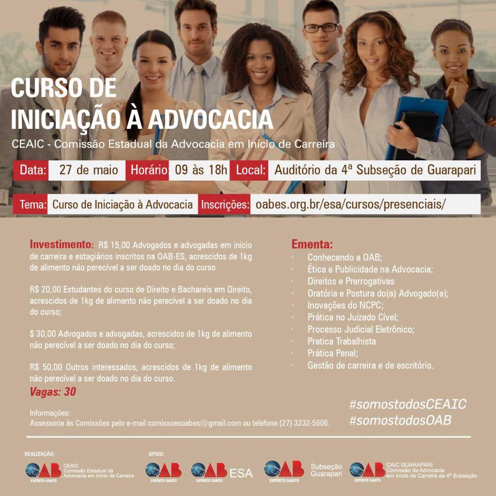 Curso também será realizado em Guarapari. Foto: Divulgação.